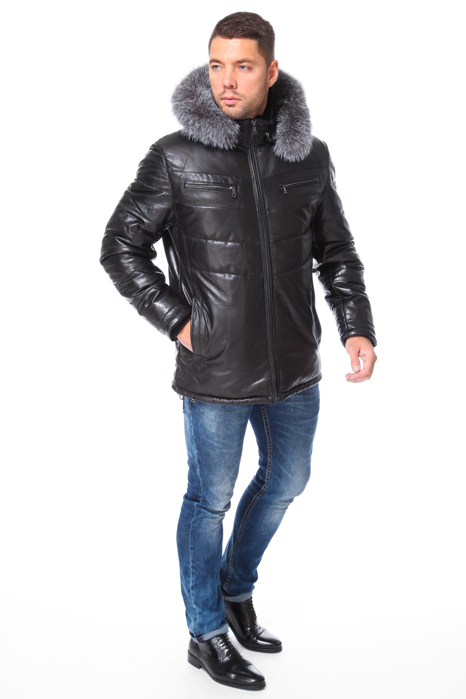 Пуховик мужской из натуральной кожи с капюшоном, отделка чернобурка от Московская Меховая Компания