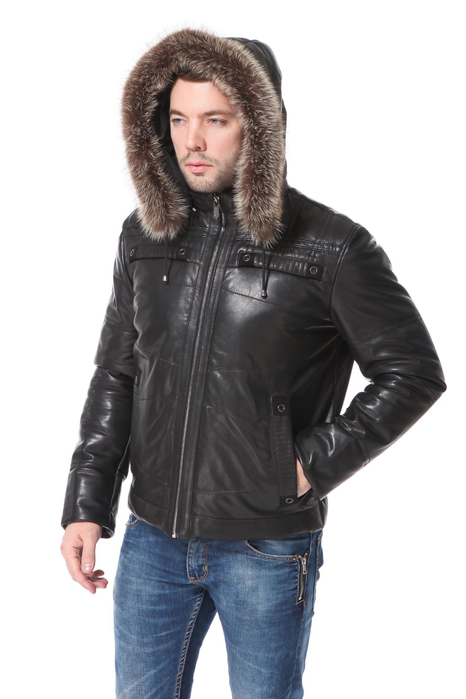 Пуховик мужской из натуральной кожи с капюшоном, отделка енотЦвет - угольно-черный.<br><br>Теплый, удобный и стильный пуховик выполнен из высококачественной натуральной кожи. Утеплитель  материал нового поколения-тинсулайт.<br><br>Актуальный фасон и комфортная длина позволят великолепно чувствовать себя зимой за рулем личного автомобиля или во время поездок в общественном транспорте. Идеально выверенные лекала и качество пошива обеспечат очень хорошую посадку. Покрытие из натуральной кожи не только хорошо защищает от холода и ветра, но и не промокает во время мокрого снега или дождя. Пуховик не деформируется, не мнется, и его очень легко чистить. Капюшон крепится на молнию, при желании его можно отстегнуть. Модель дополнена втачными карманами и украшена декоративной прострочкой.<br><br>Воротник: съемный капюшон<br>Длина см: Короткая (51-74 )<br>Материал: Кожа овчина<br>Цвет: черный<br>Вид застежки: центральная<br>Застежка: на молнии<br>Пол: Мужской<br>Размер RU: 56