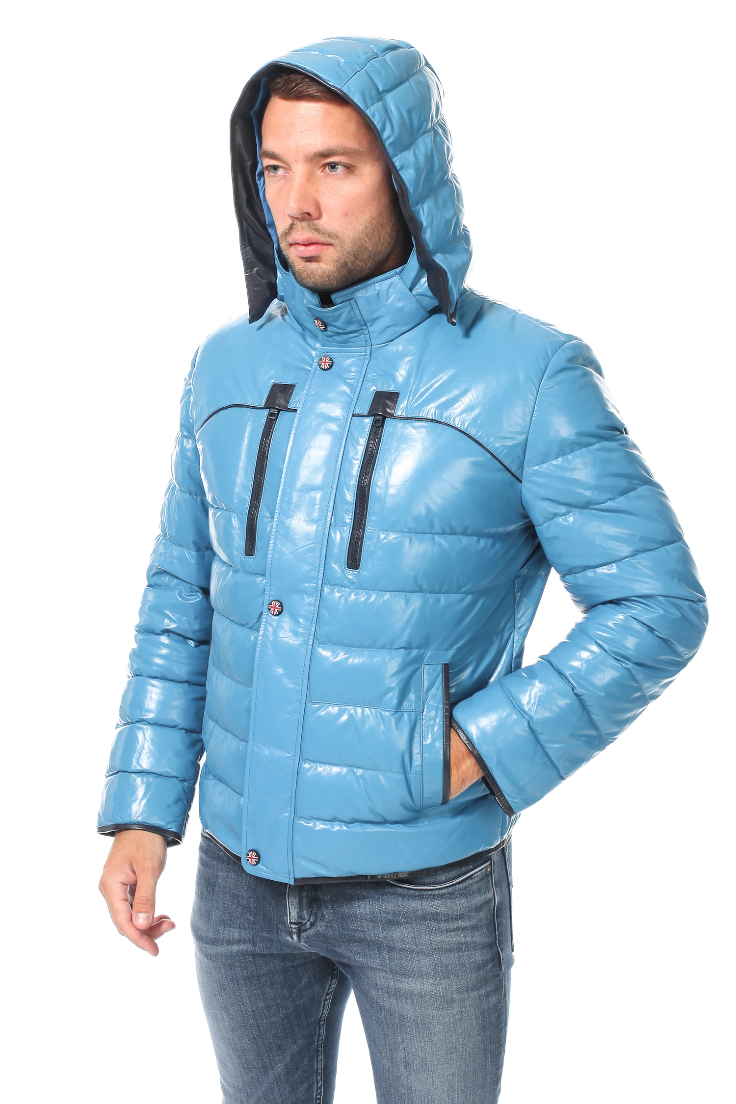 Пуховик мужской из натуральной кожи с капюшоном, без отделки<br><br>Воротник: съемный капюшон<br>Длина см: Короткая (51-74 )<br>Материал: Кожа овчина<br>Цвет: голубой<br>Вид застежки: центральная<br>Застежка: на молнии<br>Пол: Мужской<br>Размер RU: 46