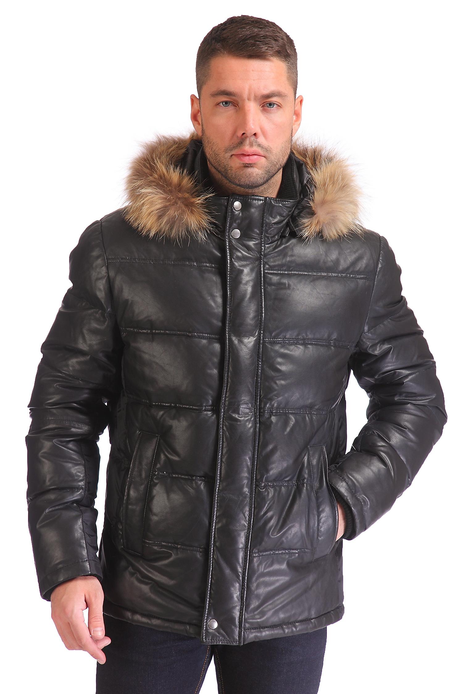 Пуховик мужской из натуральной кожи с капюшоном, отделка енот от Московская Меховая Компания