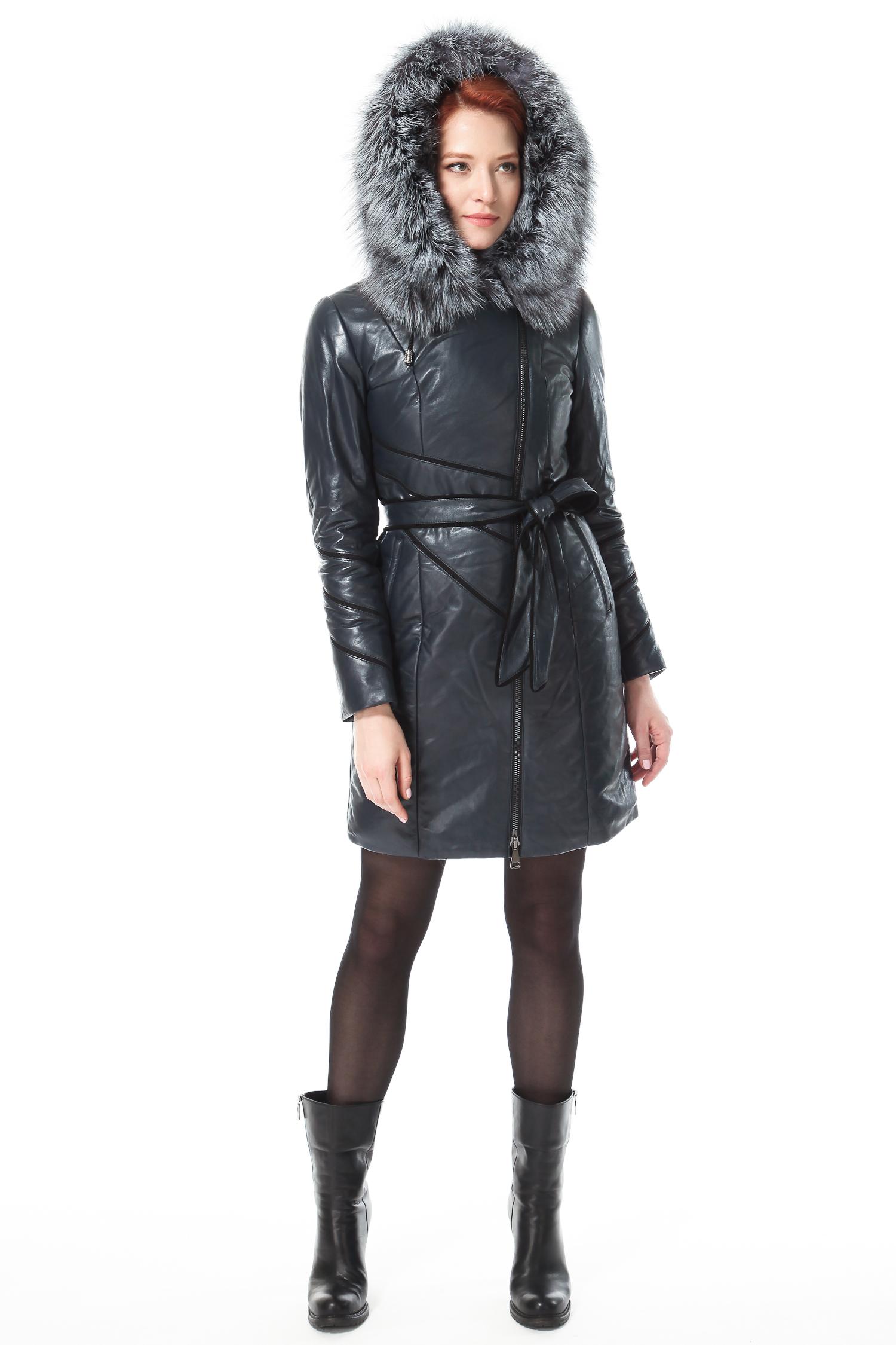 Пуховик женский из натуральной кожи с капюшоном, отделка чернобурка от Московская Меховая Компания