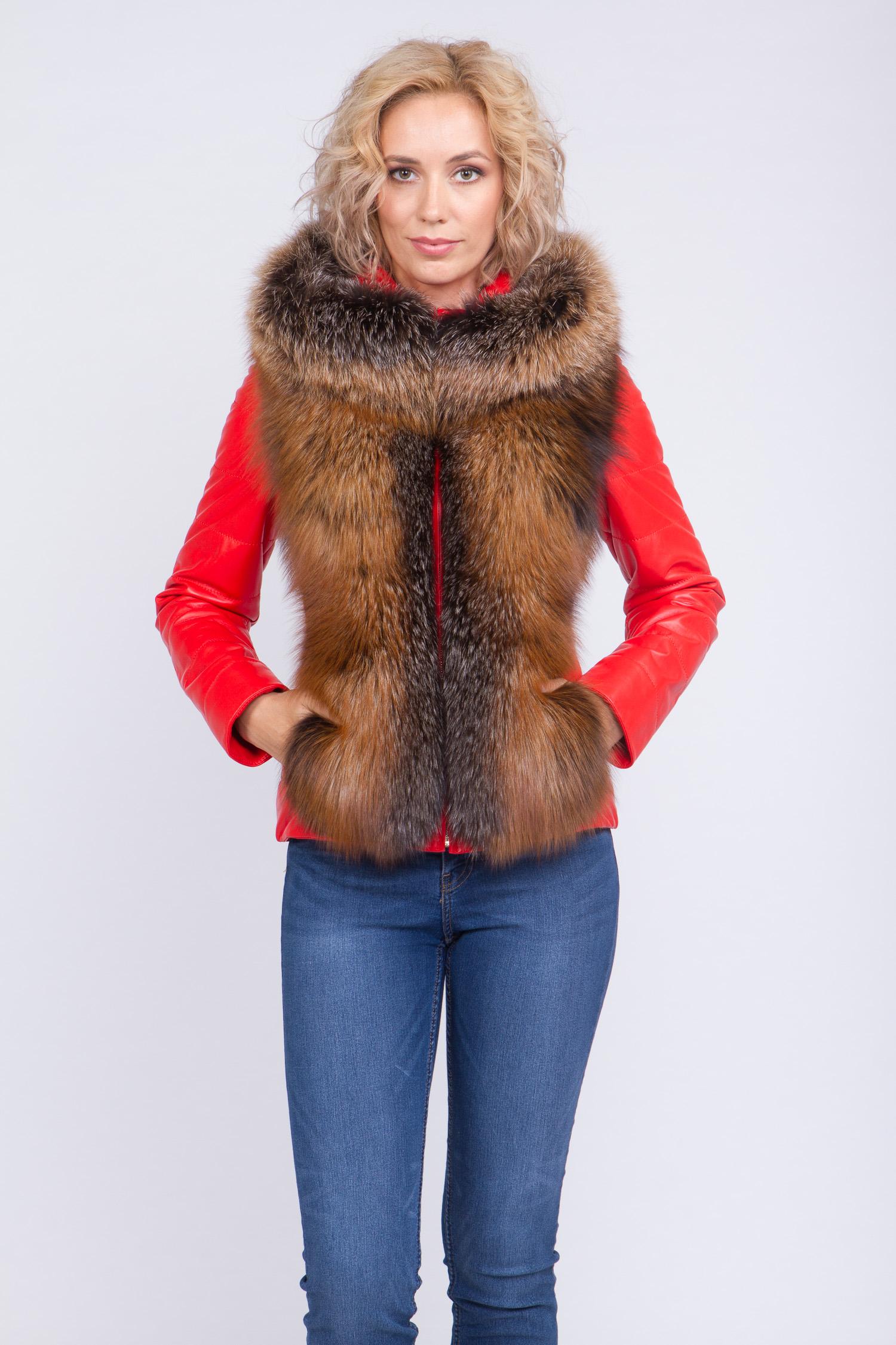 Куртка женская из натуральной кожи с капюшоном, отделка песец