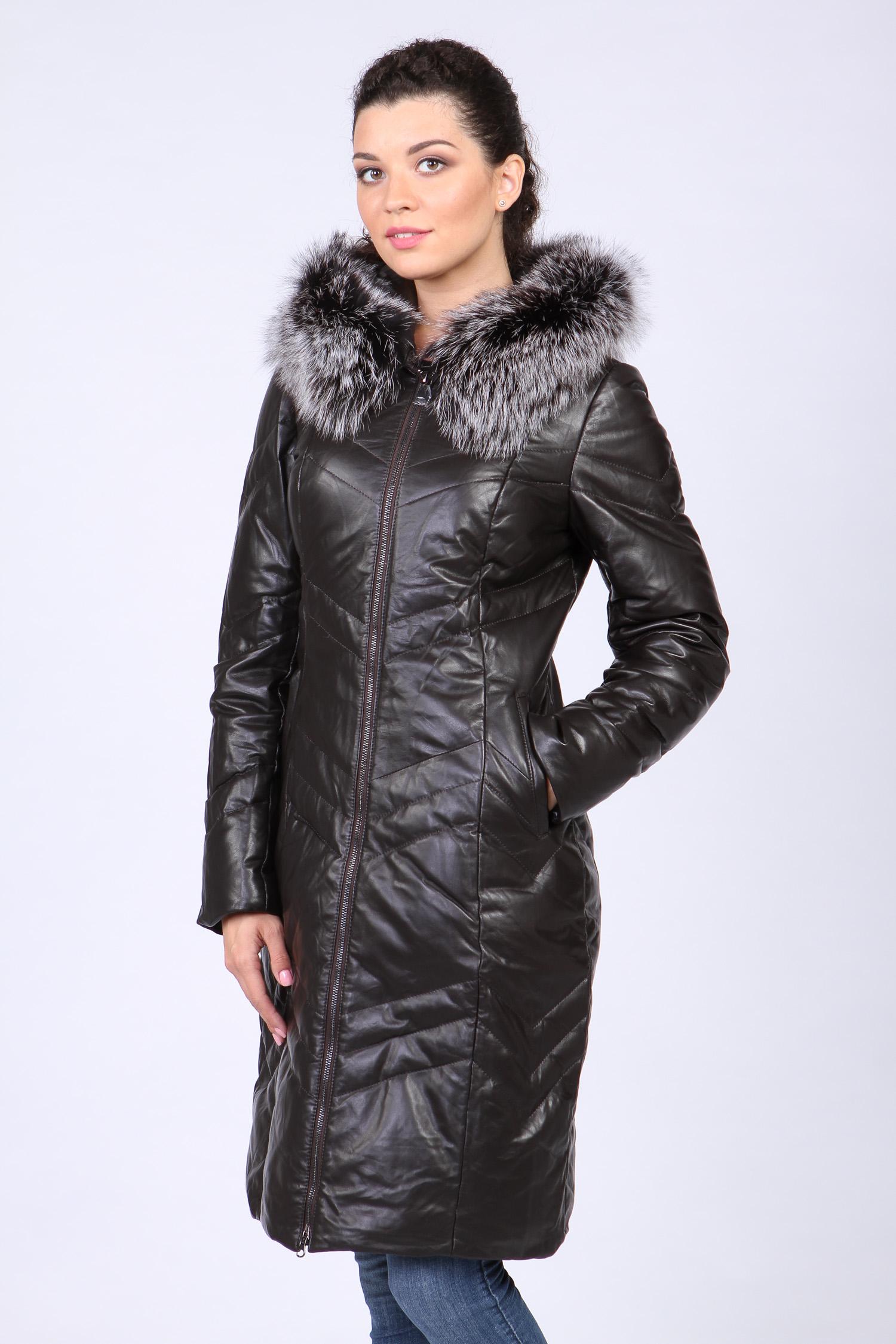 Пуховик женский из натуральной кожи с капюшоном, отделка чернобурка Московская Меховая Компания
