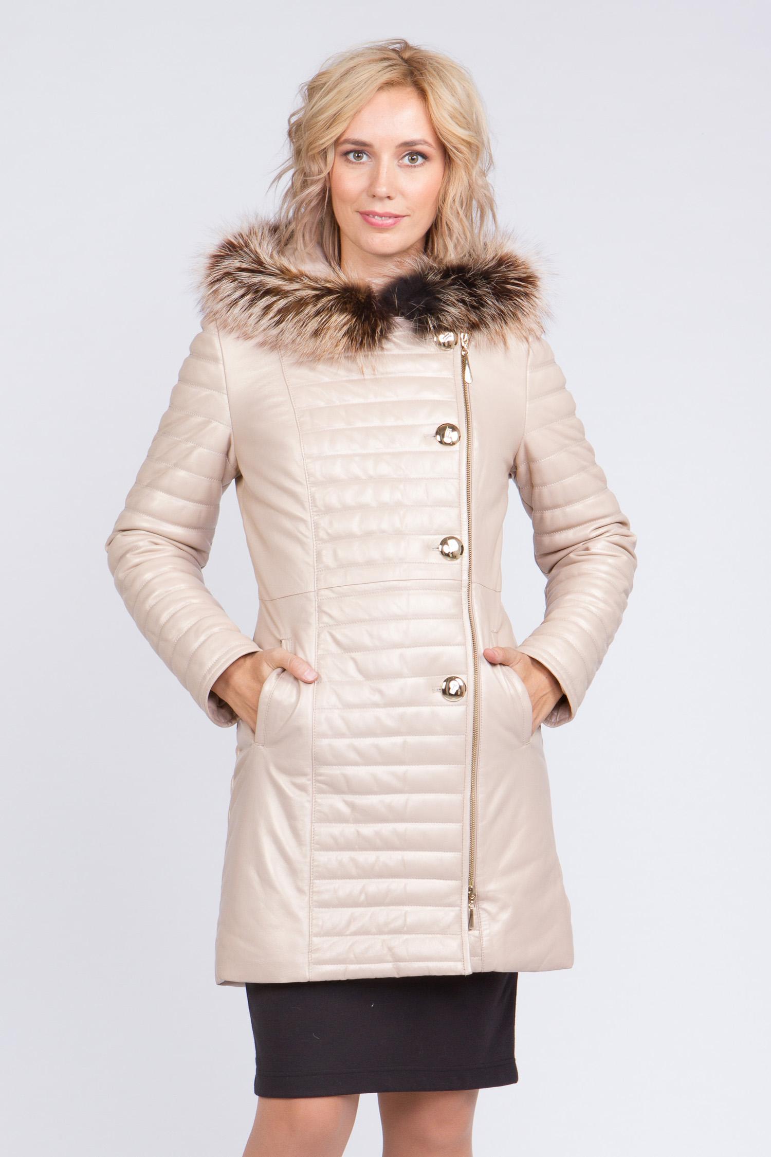 Женское кожаное пальто из натуральной кожи с капюшоном, отделка енот