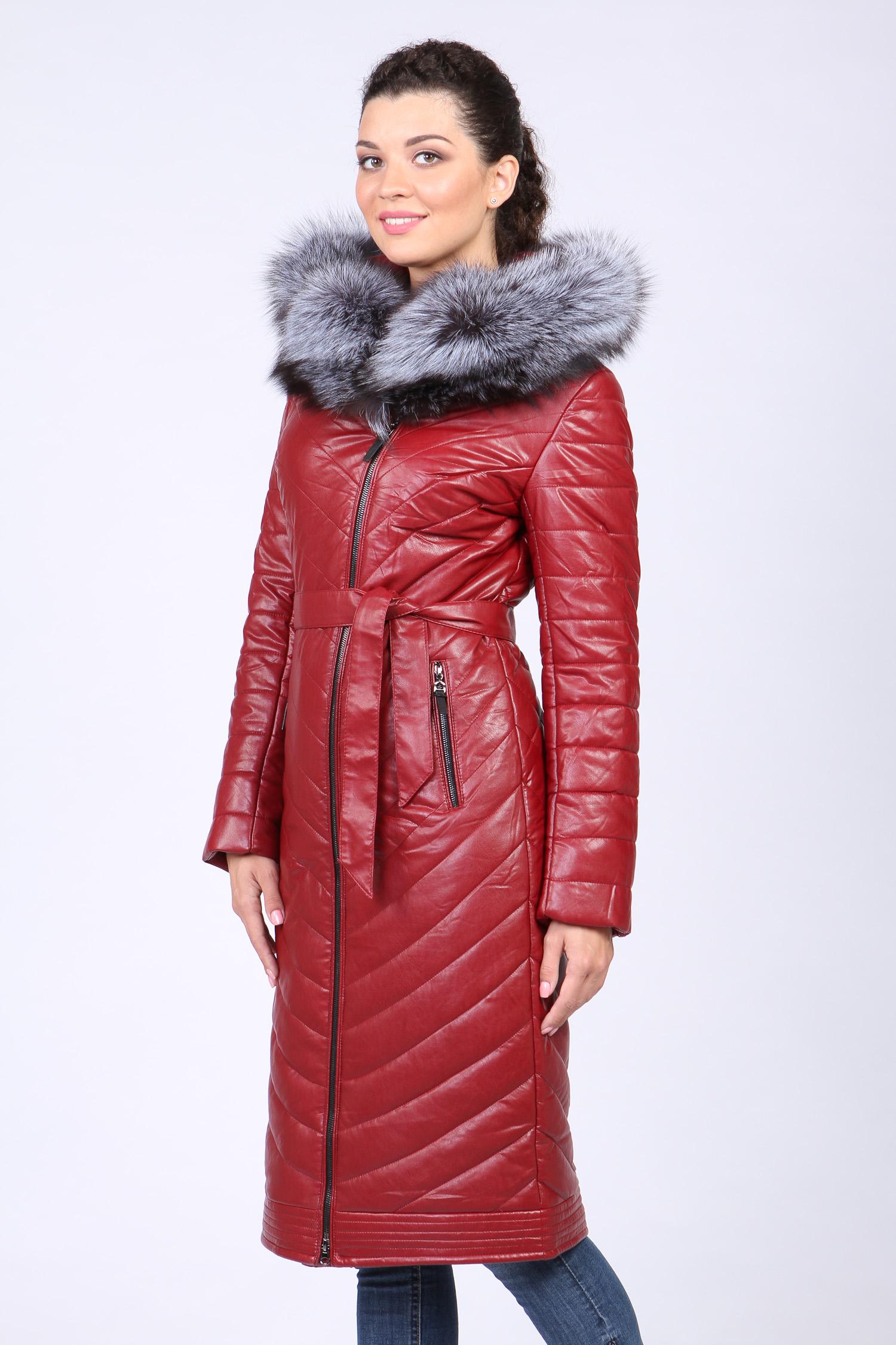 Пуховик женский с капюшоном, отделка натуральным мехом чернобурки Московская Меховая Компания