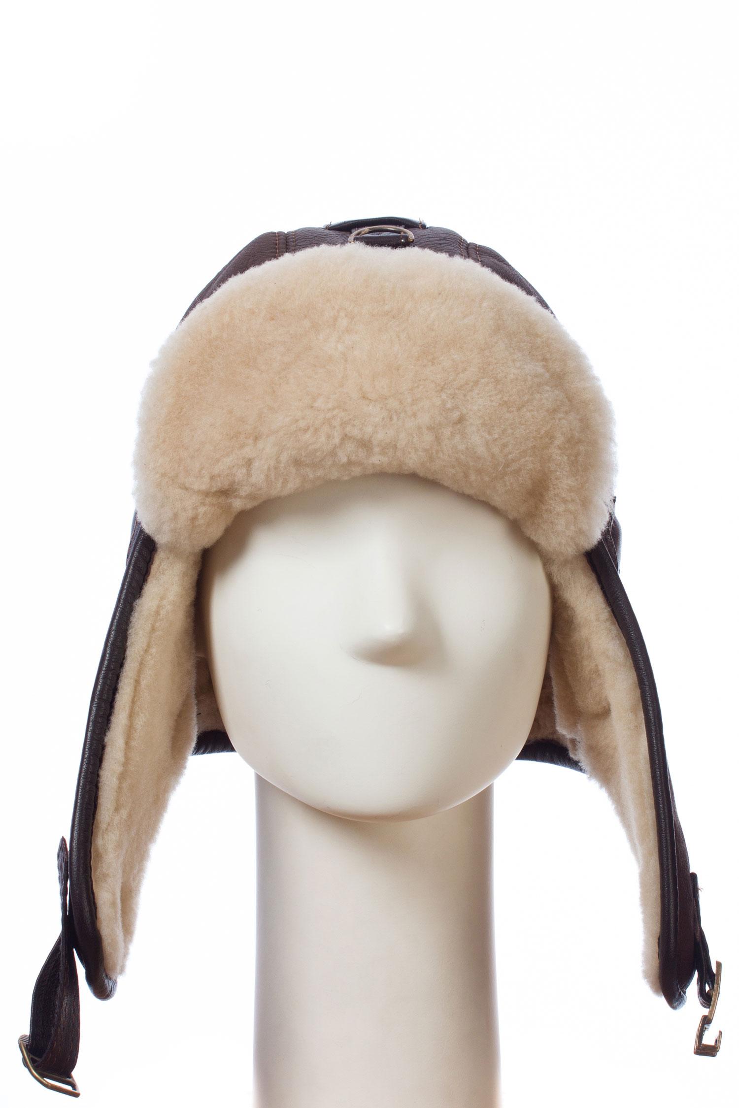 Шапка мужская из натуральной кожи и овчиныШапка мужская модель ПИЛОТ, выполнена из натуральной кожи с отделкой из ОВЧИНЫ.<br><br>Материал: Овчина<br>Цвет: коричневый<br>Размер RU: 58-59
