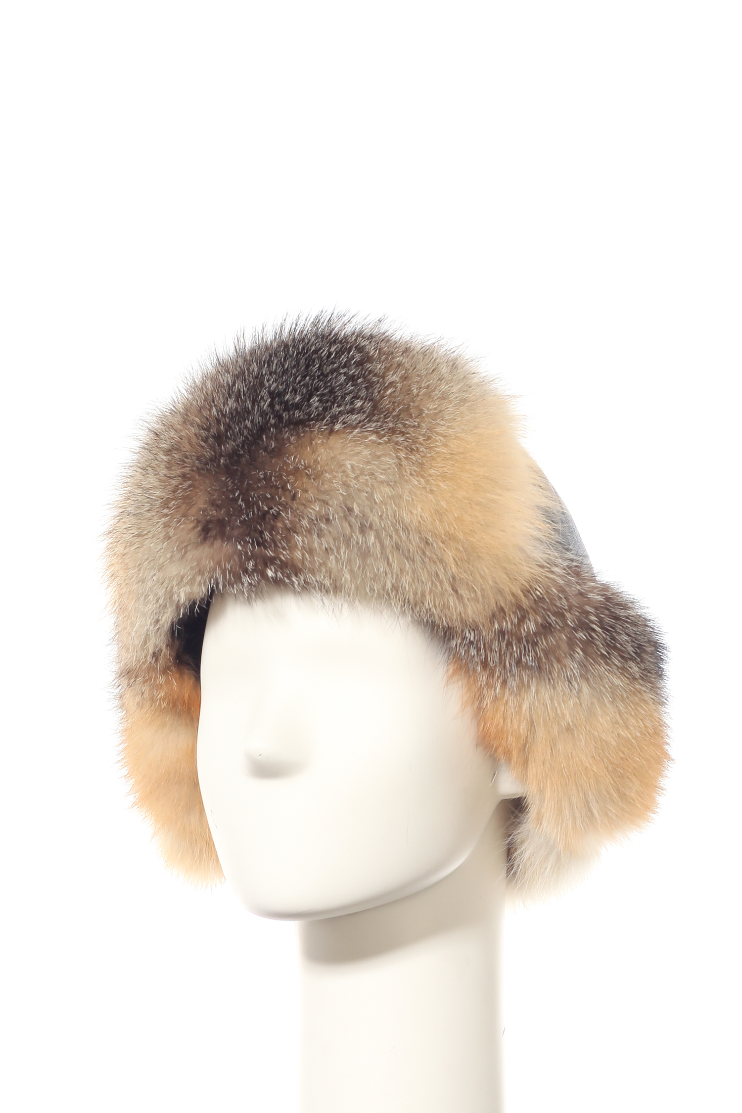 Шапка мужская из натуральной кожи, отделка лиса от Московская Меховая Компания