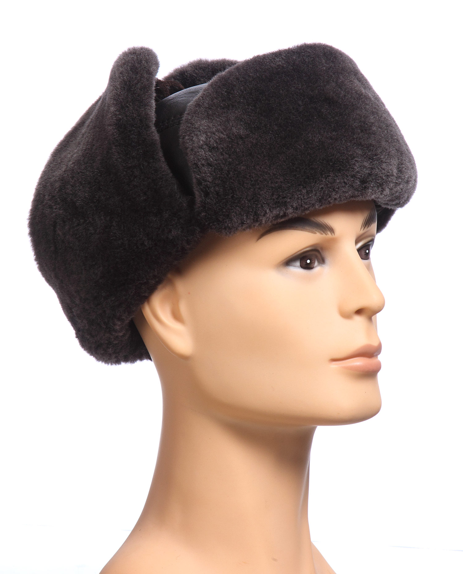 Шапка мужская из натуральной кожи, отделка овчина<br><br>Материал: Кожа овчина<br>Цвет: коричневый<br>Пол: Мужской<br>Размер RU: 58-59