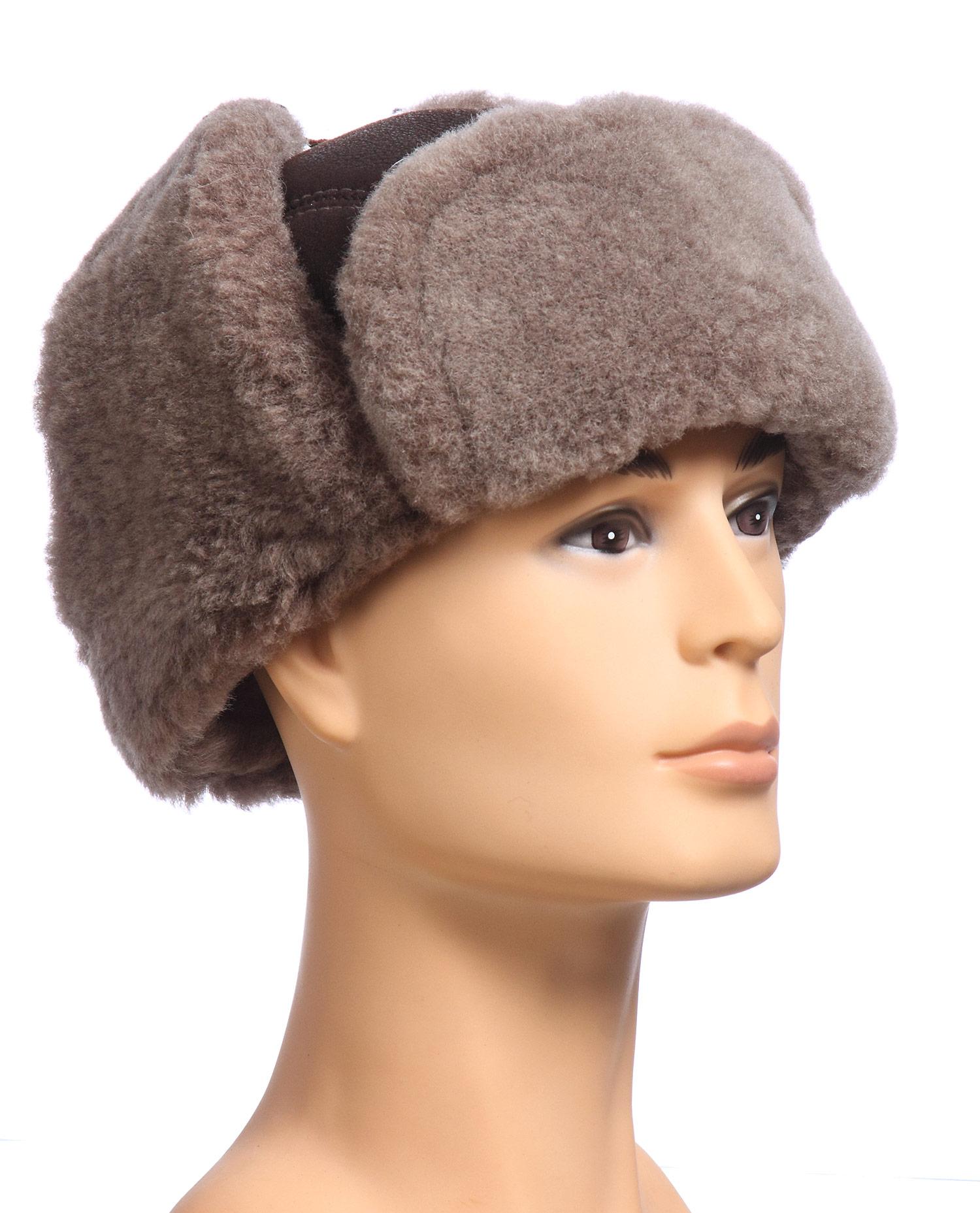 Шапка мужская из натуральной кожи<br><br>Материал: Кожа овчина<br>Цвет: коричневый<br>Пол: Мужской<br>Размер RU: 58-59