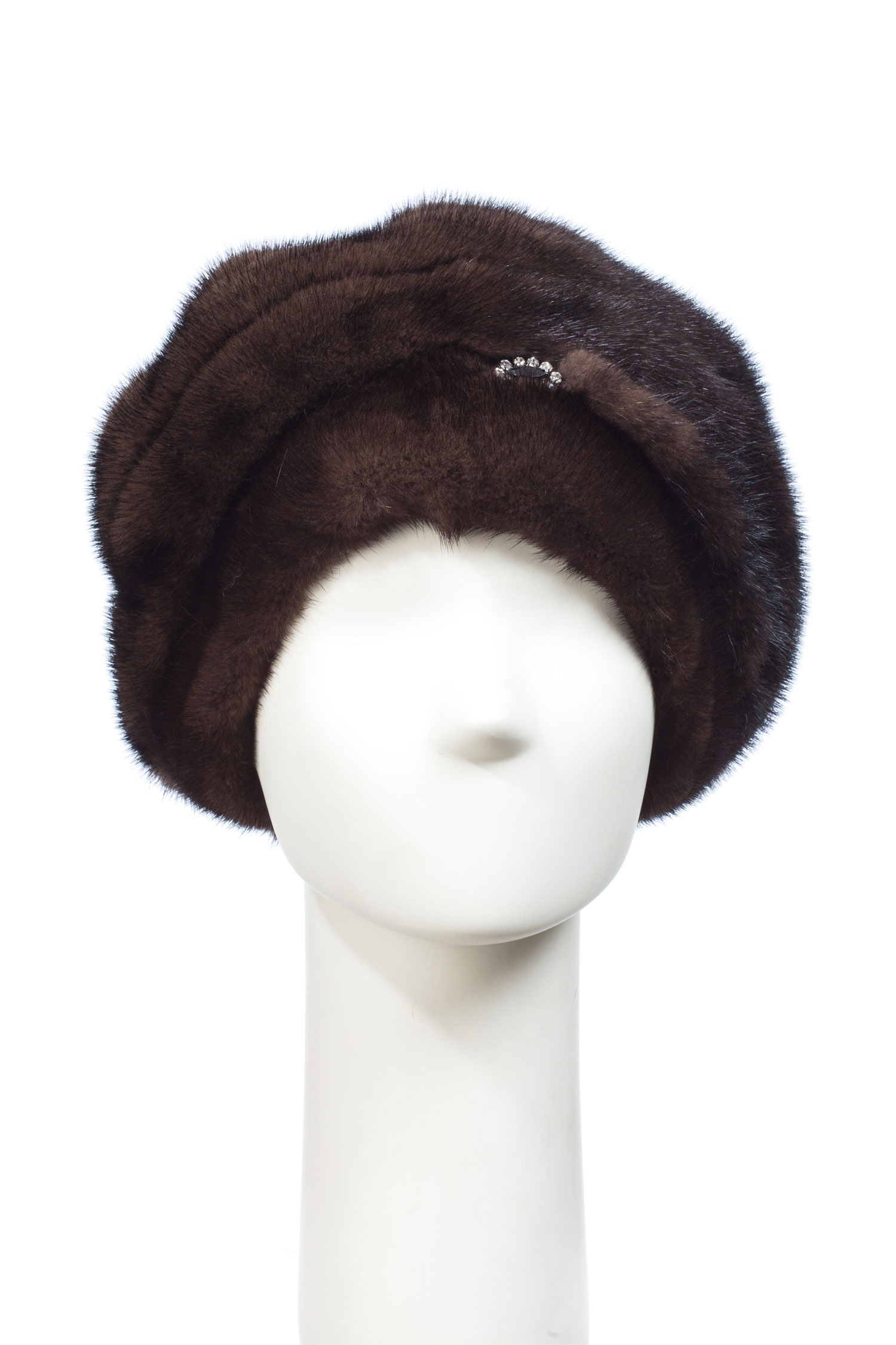 Шапка женская из норки<br><br>Материал: Мех натуральный<br>Цвет: коричневый