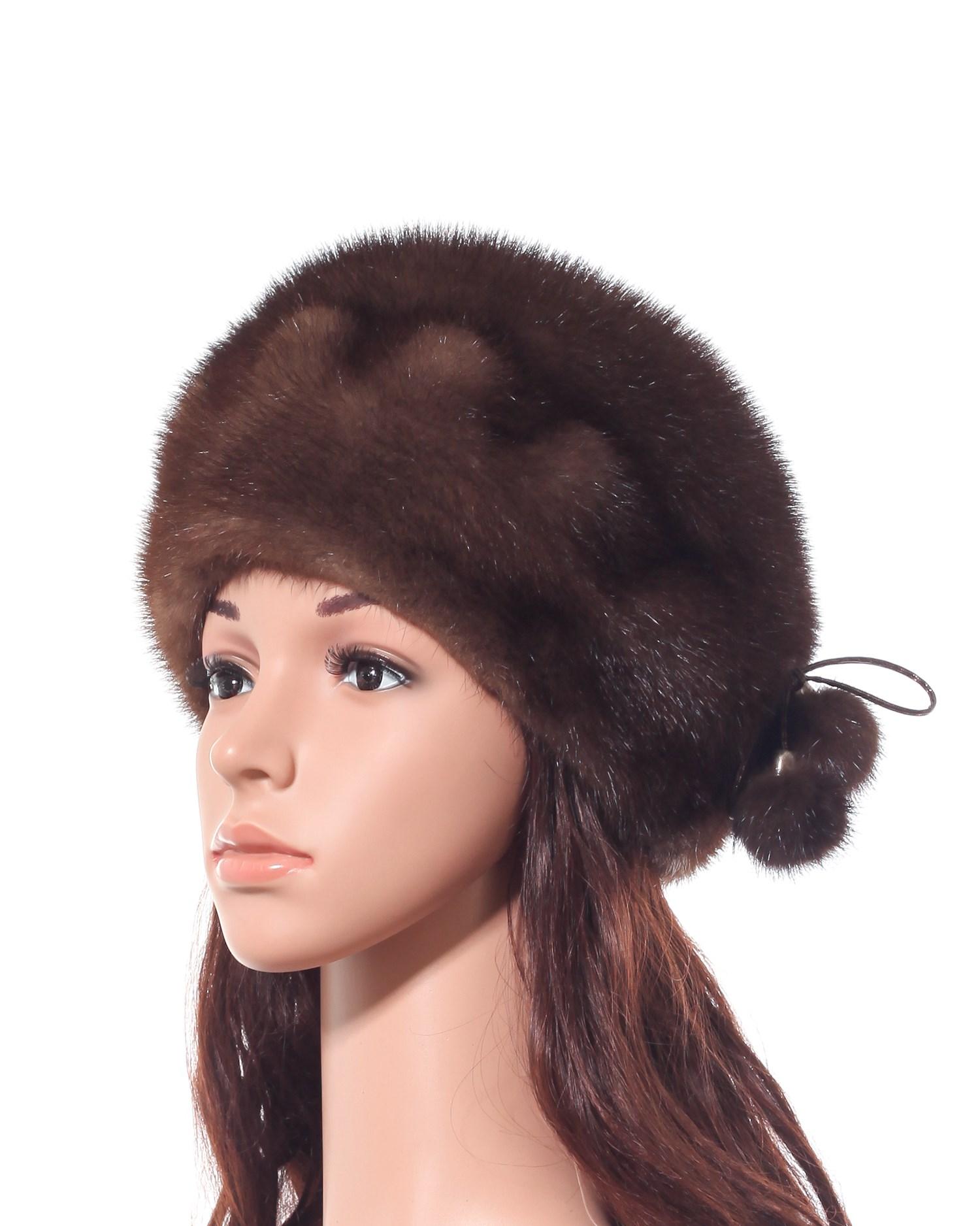 Шапка женская из норки<br><br>Материал: Мех натуральный<br>Цвет: коричневый<br>Пол: Женский