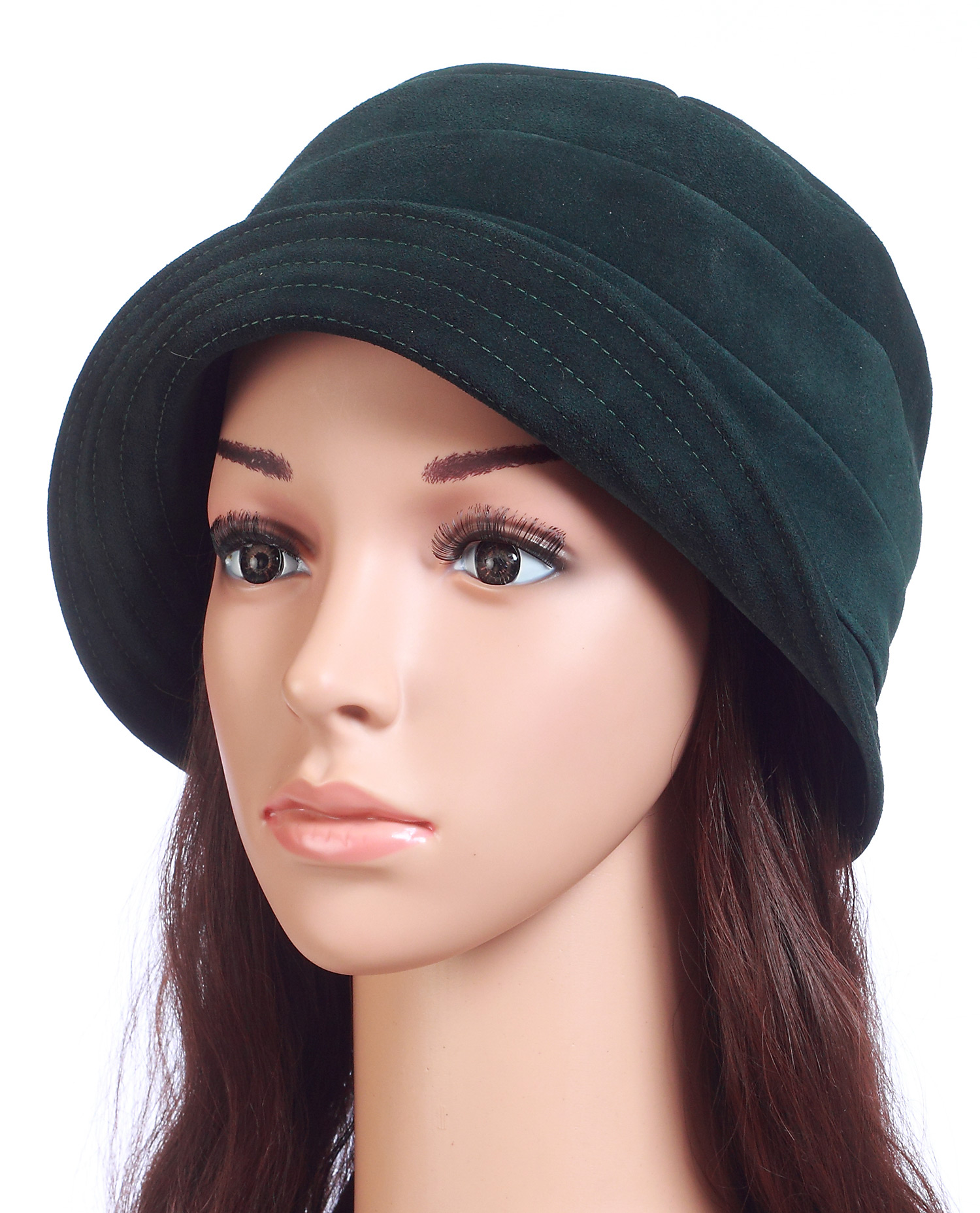 Шапка женская из замши<br><br>Материал: Замша<br>Цвет: Зеленый<br>Пол: Женский