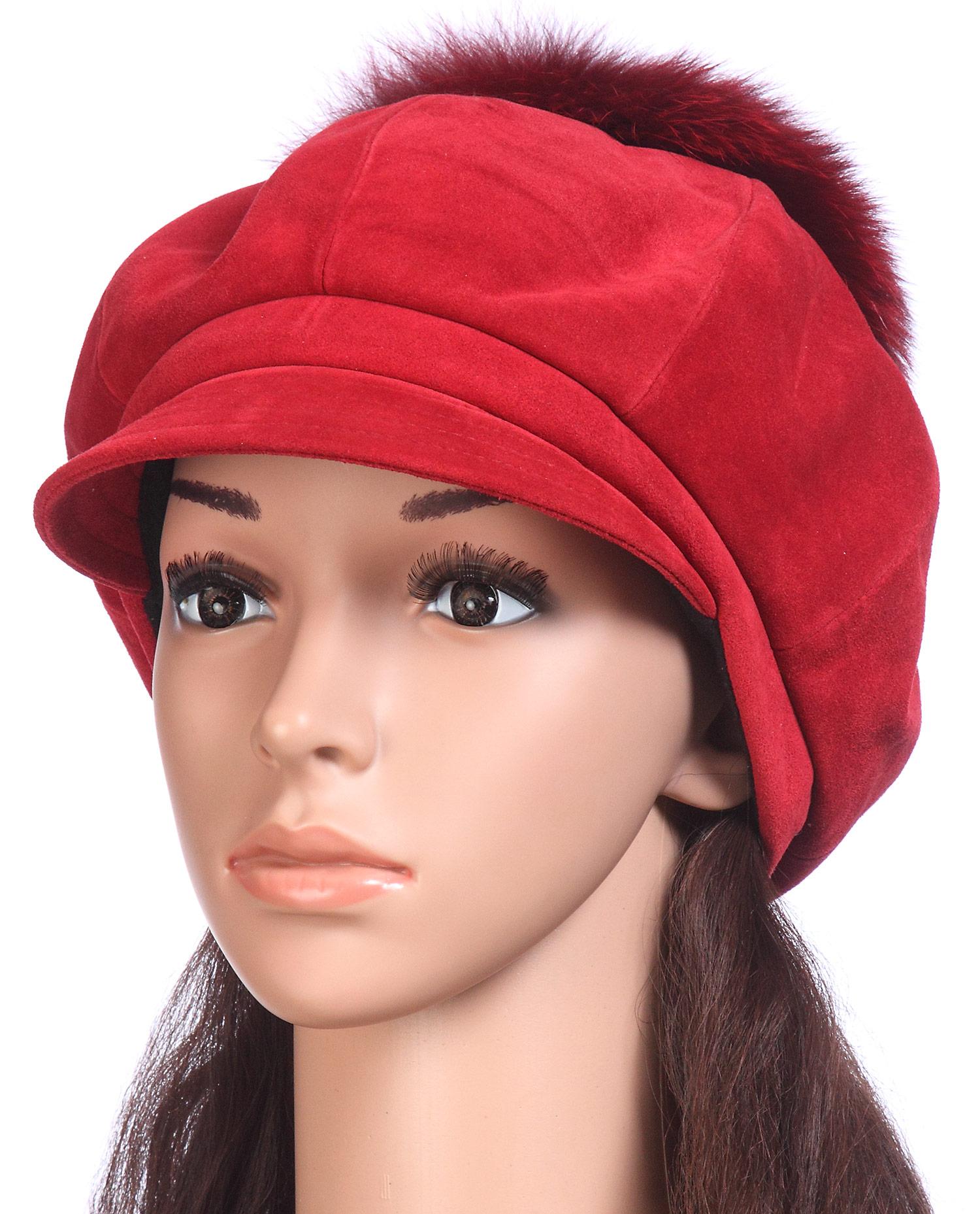 Шапка женская из замши, отделка песец<br><br>Материал: Замша<br>Цвет: красный<br>Пол: Женский