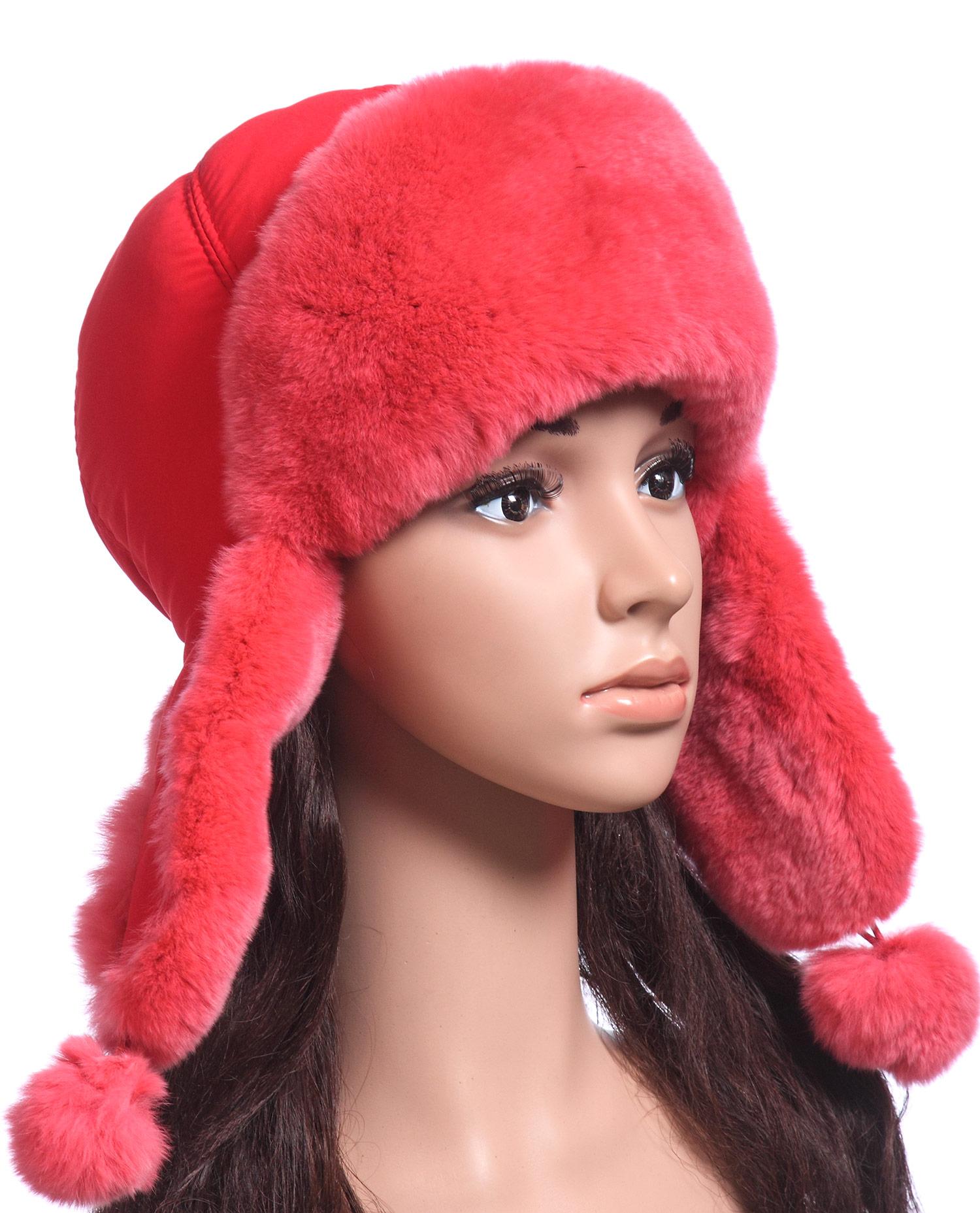 Шапка женская из текстиля, отделка кролик<br><br>Материал: Текстиль<br>Цвет: красный<br>Пол: Женский<br>Размер RU: 57-58