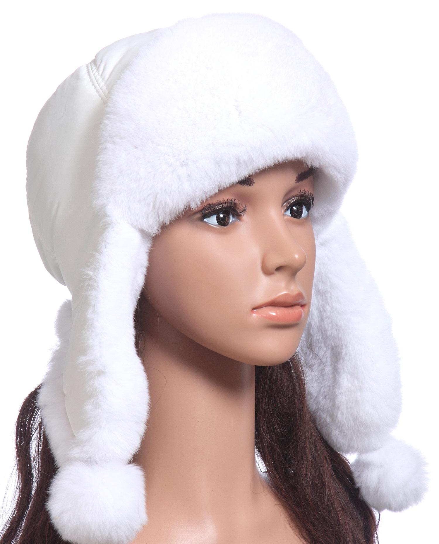 Шапка женская из текстиля, отделка кролик<br><br>Материал: Текстиль<br>Цвет: белый<br>Пол: Женский<br>Размер RU: 57-58