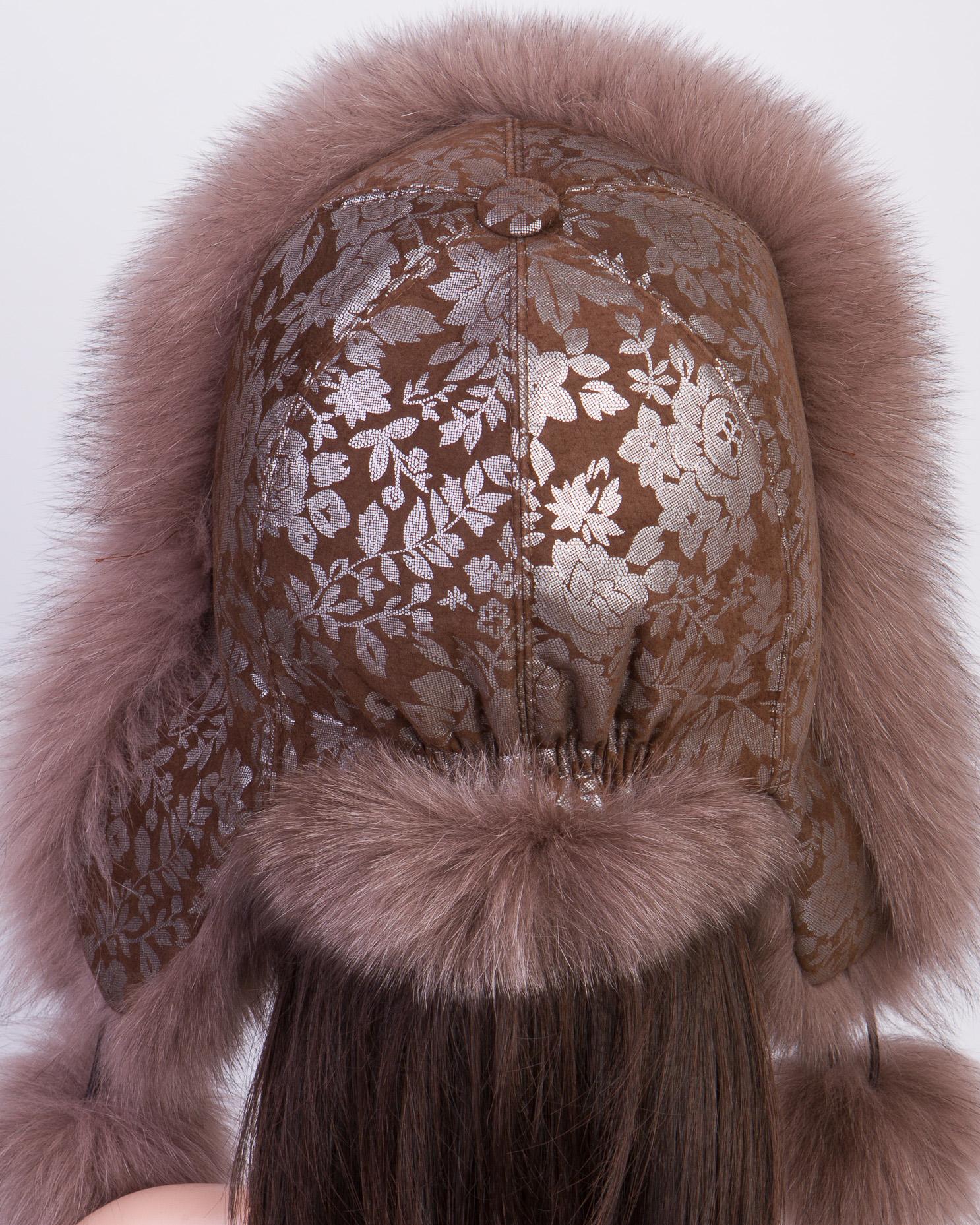 Шапка женская из натуральной замши, отделка песец от Московская Меховая Компания