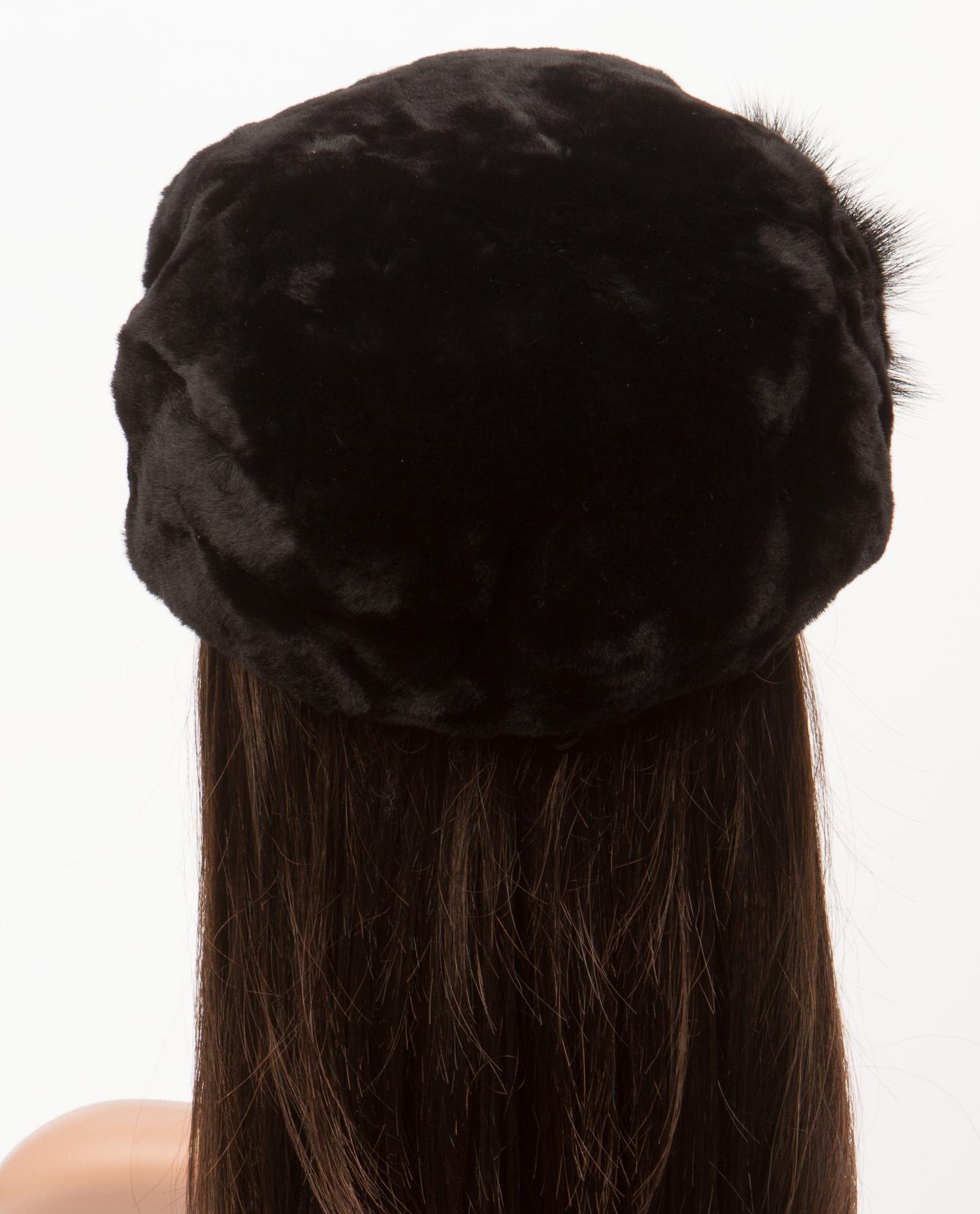 Берет женский из мутона, отделка норка от Московская Меховая Компания