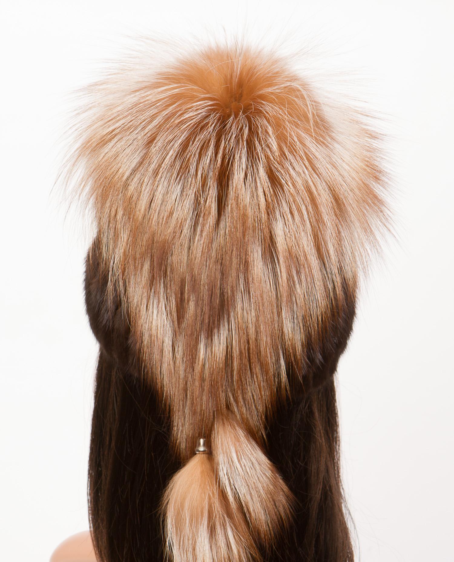 Шапка женская из ондатры, отделка лиса от Московская Меховая Компания
