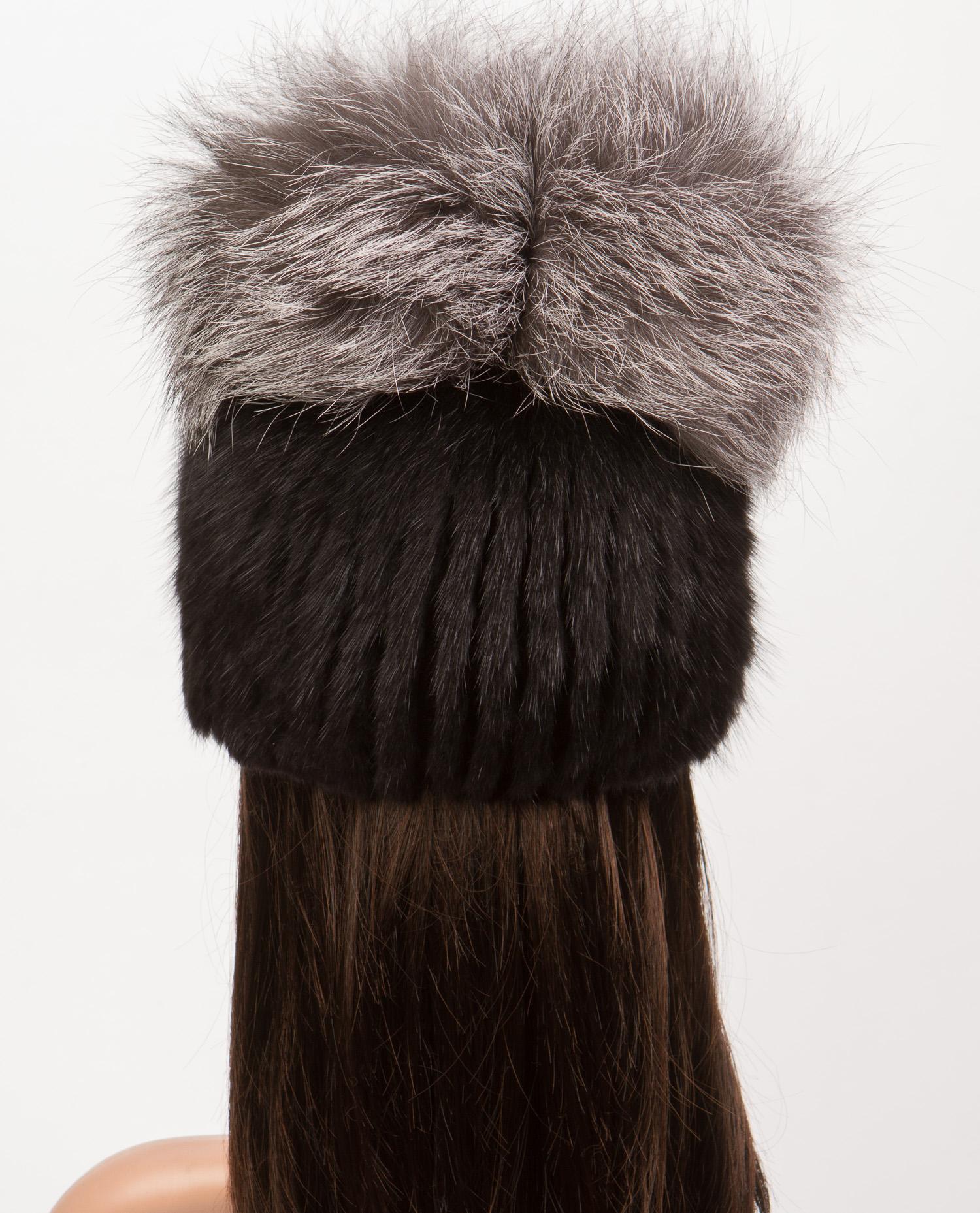 Шапка женская из ондатры, отделка чернобурка от Московская Меховая Компания