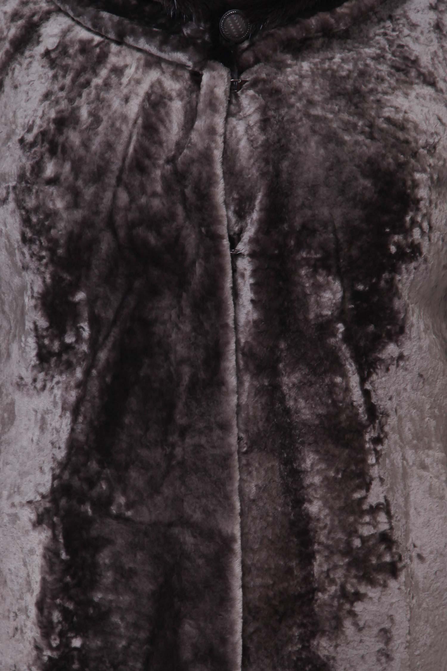 Шуба из астрагана с воротником, отделка норка от Московская Меховая Компания