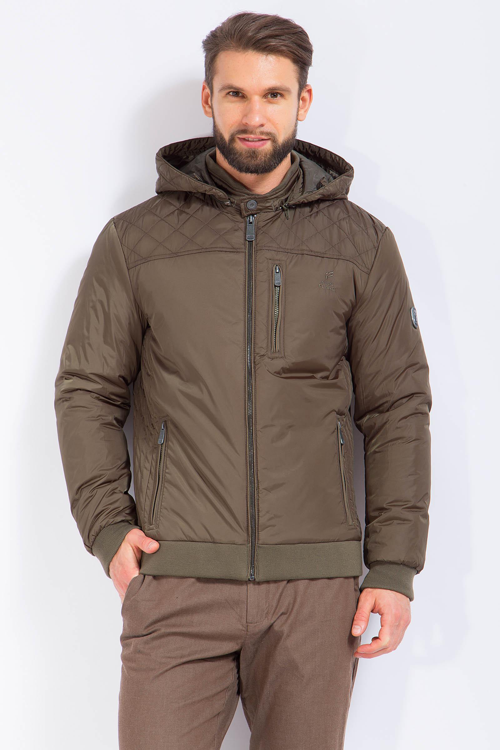 Куртка мужская из текстиля с капюшоном, без отделки