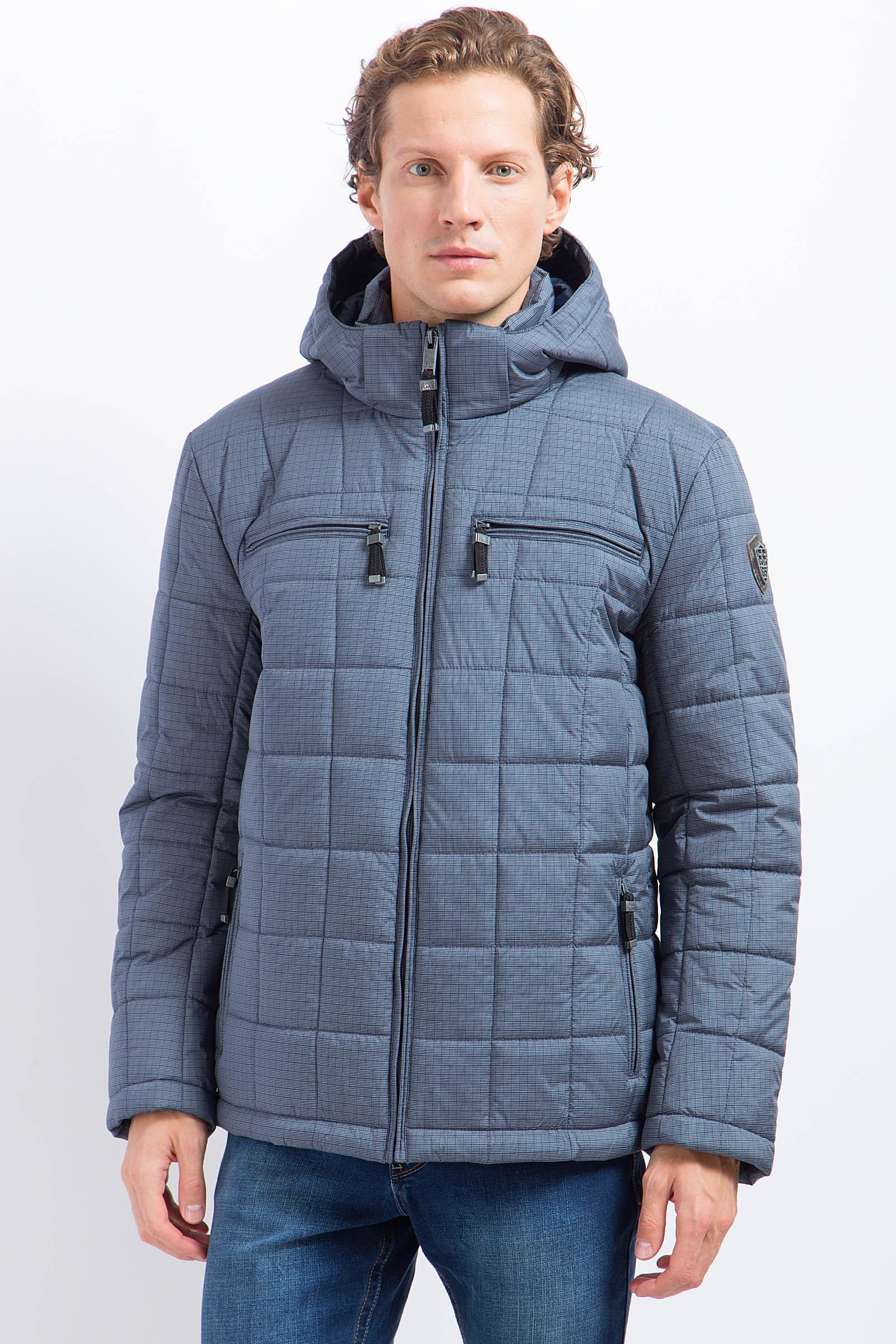 Мужская куртка из текстиля с капюшоном, без отделки