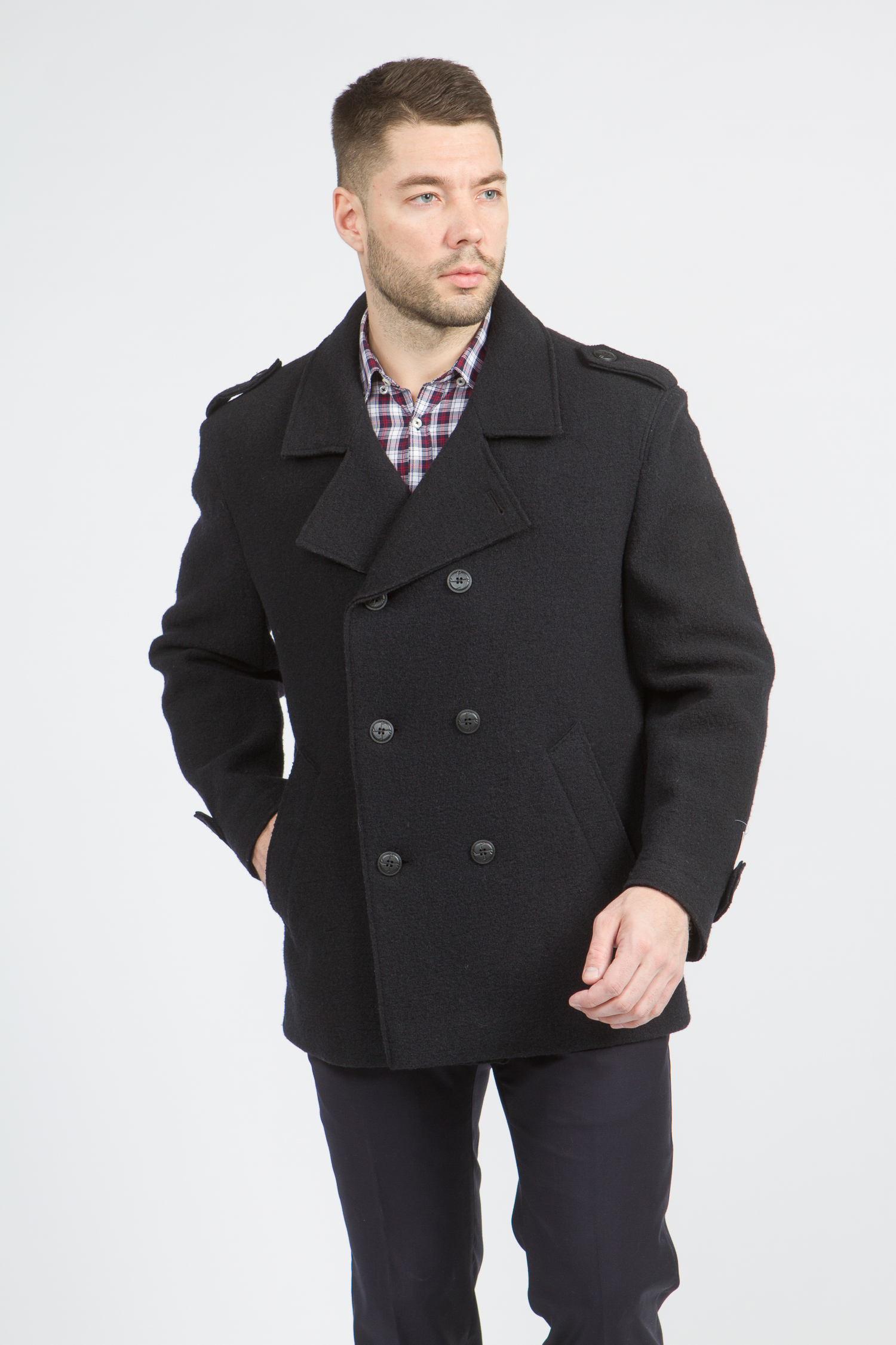 Мужское пальто из текстиля с воротником, без отделки