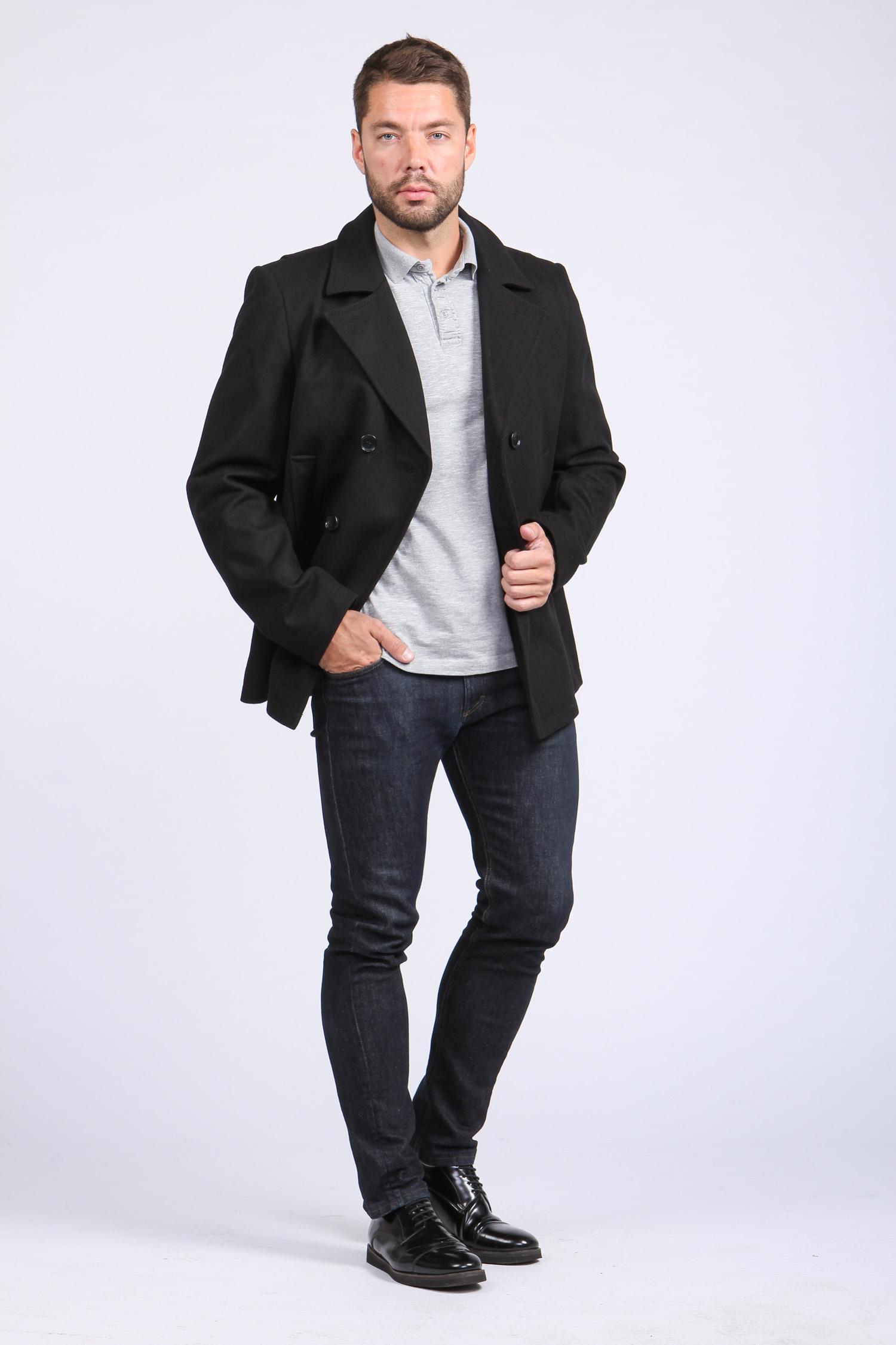 Мужское пальто из текстиля с воротником, без отделки от Московская Меховая Компания