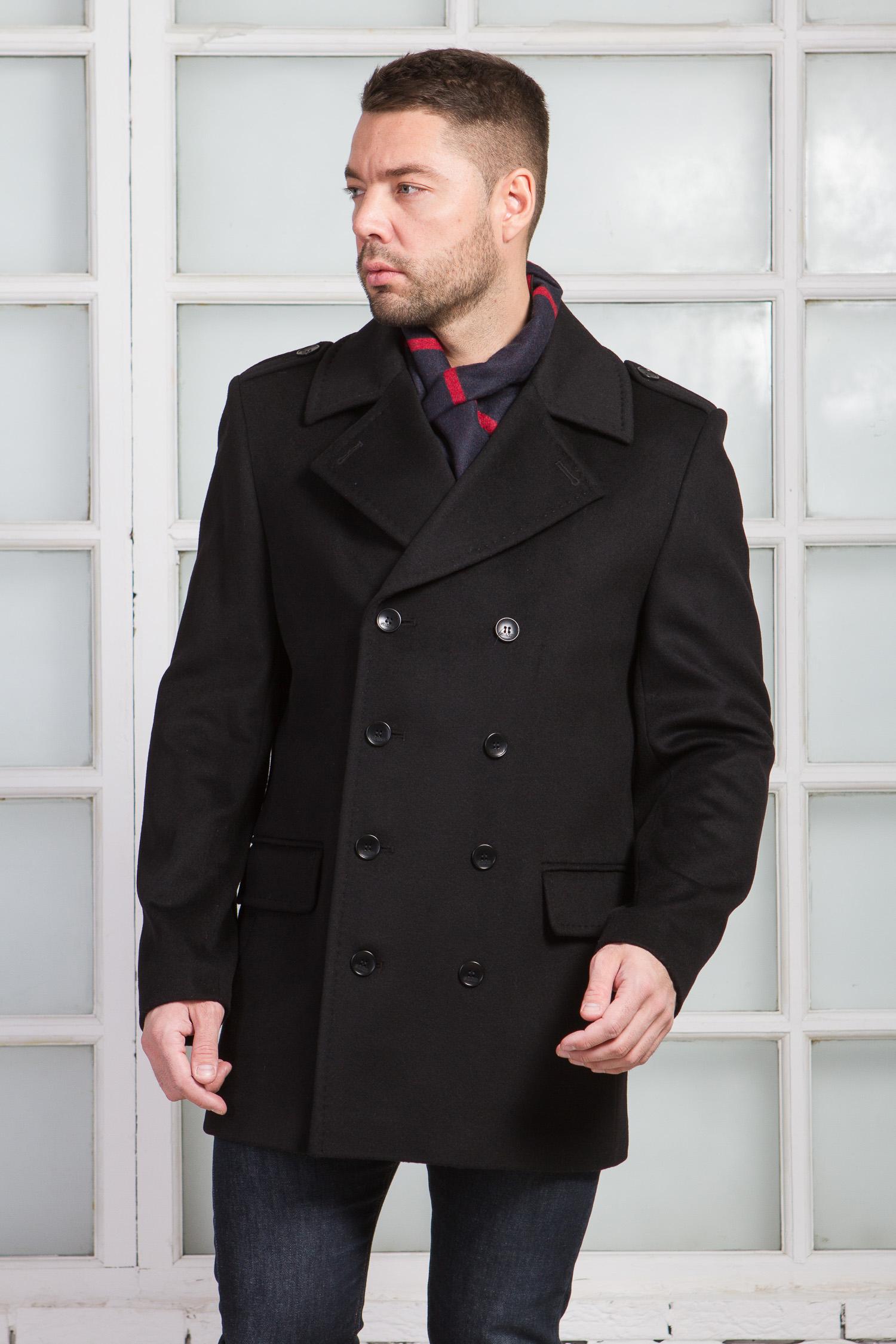 Мужское полупальто из текстиля с воротником, без отделки Мужское полупальто из текстиля с воротником, без отделки