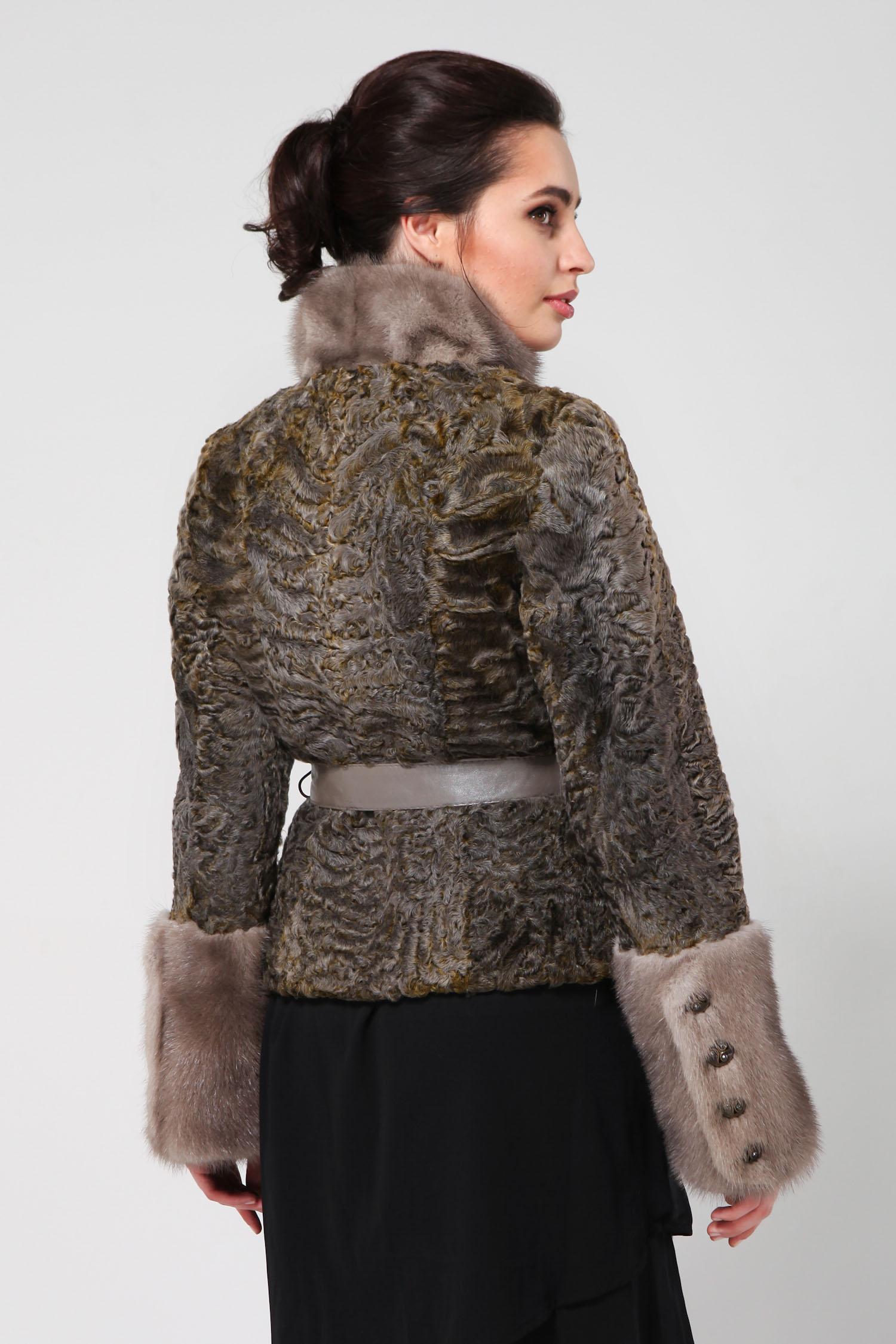 Куртка из каракуля с воротником, отделка норка от Московская Меховая Компания