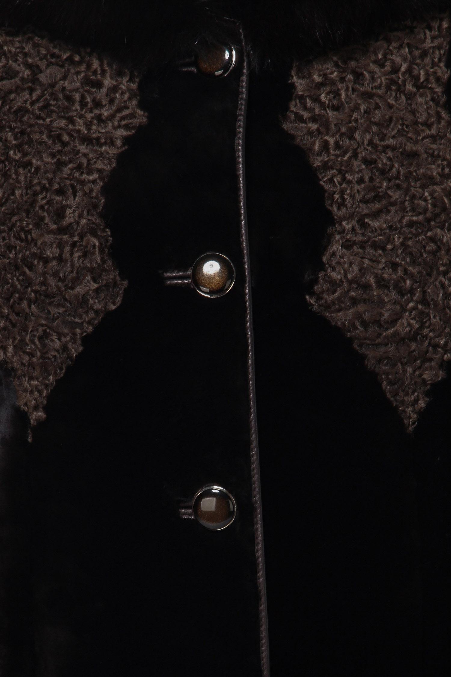 Шуба из мутона с капюшоном, отделка песец и каракуль от Московская Меховая Компания